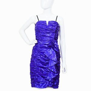 VINTAGE Purple Metallic Ruched Dress XS/S